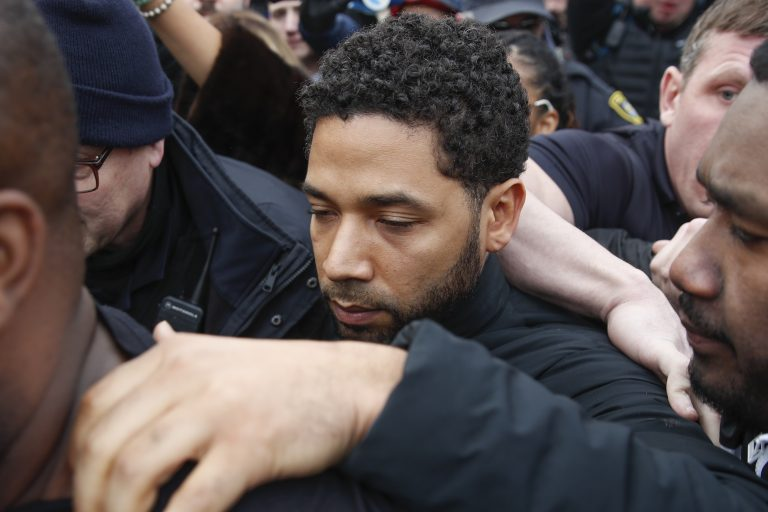 Jussie Smollett leaves George N Leighton Criminal Courthouse in Chicago last month. A grand jury has indicted the