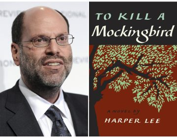 This combination photo shows Hollywood and Broadway producer Scott Rudin at The National Board of Review Motion Pictures awards gala in New York on Jan. 11, 2011, (left), and the cover of Harper Lee's