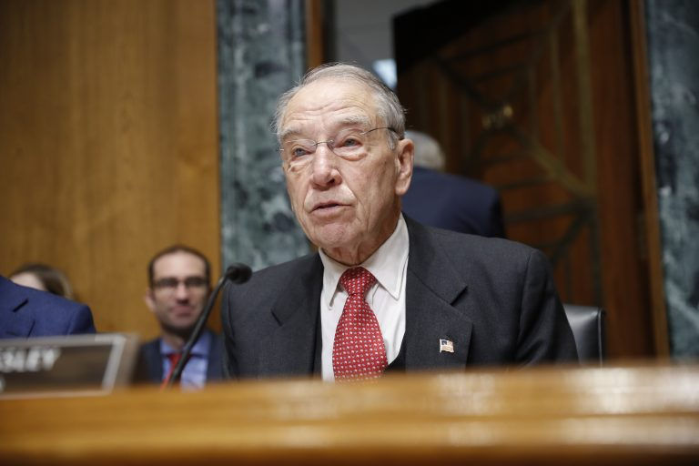 In this Feb. 26, 2019, Sen. Chuck Grassley, R-Iowa, speaks on Capitol Hill in Washington. As a deadline for voting looms, it's increasingly clear that Republican senators are so uncomfortable with President Donald Trump's use of executive power to build the wall with Mexico they're desperate to devise a way around it. (Pablo Martinez Monsivais/AP Photo)