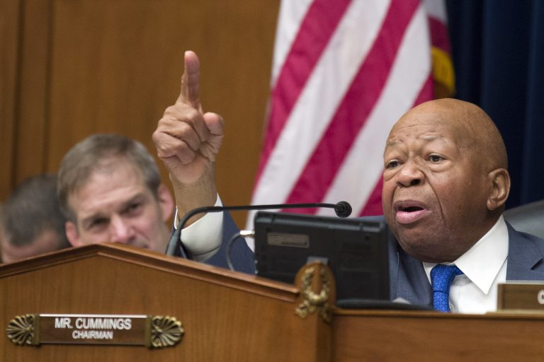 In this Wednesday, Feb. 27, 2019 file photo, House Oversight and Reform Committee Chair Elijah Cummings, D-Md., right, speaks as he gives closing remarks with Rep. Jim Jordan, R-Ohio, the ranking member, at left, as the hearing for Michael Cohen, President Donald Trump's former lawyer, at the House Oversight and Reform Committee concludes, on Capitol Hill, in Washington. (Alex Brandon/AP Photo, File)