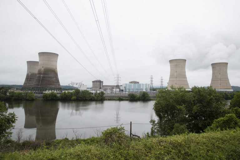 In this May 22, 2017 file photo shown is the Three Mile Island nuclear power plant in Middletown, Pa. With nuclear power plant owners seeking a rescue in Pennsylvania, a number of state lawmakers are signaling that they are willing to help, with conditions. Giving nuclear power plants what opponents call a bailout could mean a politically risky vote to hike electric bills. (Matt Rourke/AP Photo)