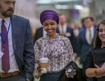 Rep. Ilhan Omar, D-Minn., walks through an underground tunnel at the Capitol as top House Democrats plan to offer a measure that condemns anti-Semitism in the wake of controversial remarks by the freshman congresswoman, in Washington, Wednesday, March 6, 2019. (J. Scott Applewhite/AP Photo)