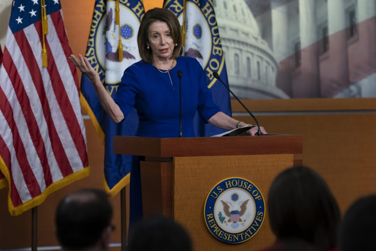 Speaker of the House Nancy Pelosi, D-Calif., meets with reporters during her weekly news conference, at the Capitol in Washington, Thursday, March 7, 2019. (J. Scott Applewhite/AP Photo)