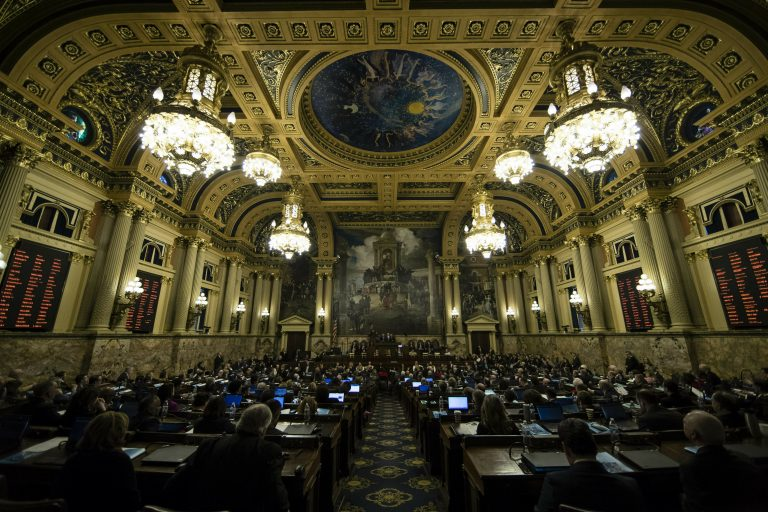 In this Feb. 5, 2019 file photo, Gov. Tom Wolf delivers his budget address for the 2019-20 fiscal year to a joint session of the Pennsylvania House and Senate in Harrisburg, Pa. (Matt Rourke/AP Photo, File)