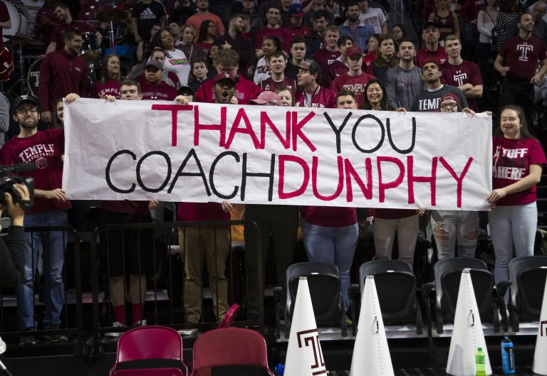 Fans with a sign for Temple's head coach Fran Dunphy prior to the first half of an NCAA college basketball game against Central Florida, Saturday, March 9, 2019, in Philadelphia. (Chris Szagola/AP Photo)