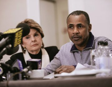 Gary Dennis, seated with Lawyer Gloria Allred, speaks during a press conference announcing a video tape said to present further evidence of wrongdoing by recording artist R. Kelly Sunday, March 10, 2019, in New York. Dennis said the tape, which he found at his home in Pennsylvania, shows R. Kelly sexually abusing more than one underage girl. (Kevin Hagen/AP Photo)