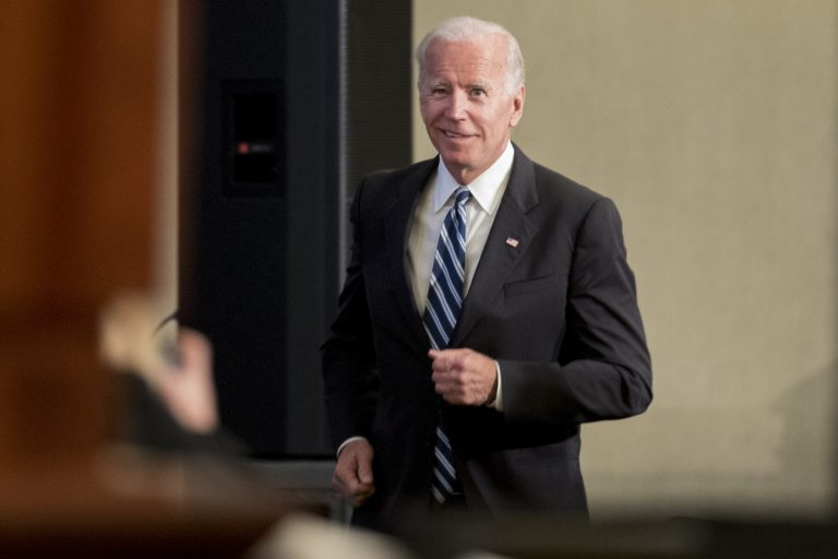 In this file photo, former Vice President Joe Biden takes the stage to speak to the International Association of Firefighters at the Hyatt Regency on Capitol Hill in Washington, Tuesday, March 12, 2019, (Andrew Harnik/AP Photo)