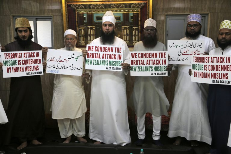 Indian Muslims hold placards during a condolence meeting and protest against Fridays mass shootings in New Zealand in Mumbai, India, Friday, March. 15, 2019. Dozens of people were killed in mass shootings at two mosques full of worshippers attending Friday prayers on what the prime minister called