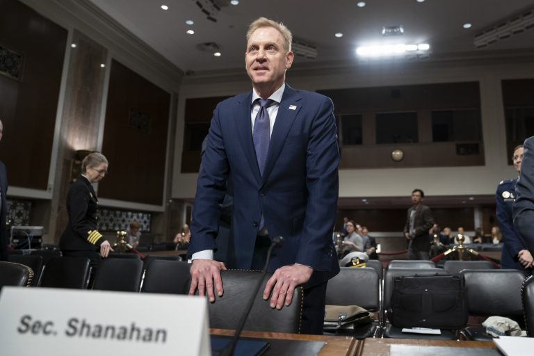 """In this March 14, 2019, photo, acting Defense Secretary Patrick Shanahan goes before the Senate Armed Services Committee to discuss the Department of Defense budget, on Capitol Hill in Washington. To a remarkable degree, the Pentagon's new budget proposal is shaped by national security threats that Shanahan has summarized in three words: """"China, China, China."""" (J. Scott Applewhite/AP Photo)"""