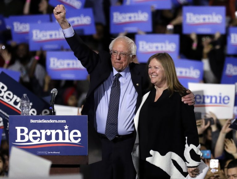 In this March 3, 2019, file photo, Sen. Bernie Sanders, I-Vt., left, and his wife, Jane Sanders, greet supporters as they leave after his 2020 presidential campaign stop at Navy Pier in Chicago. (Nam Y. Huh/AP Photo)