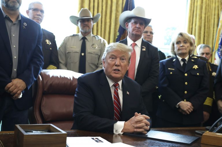 In this March 15, 2019, photo, President Donald Trump speaks about border security in the Oval Office of the White House, Friday, March 15, 2019, in Washington. (Evan Vucci/AP Photo)