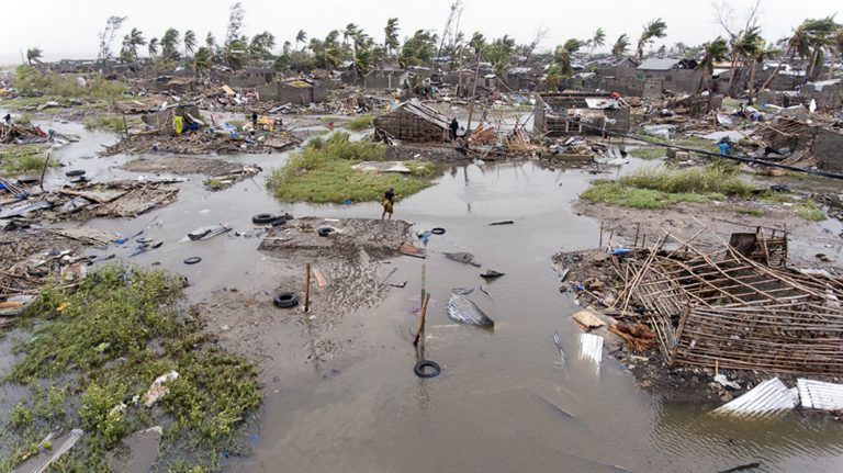 In this photo taken on Friday, March 15, 2019 and provided by the International Red Cross, an aerial view of the destruction of homes after Tropical Cyclone Idai, in Beira, Mozambique. Mozambique's President Filipe Nyusi says that more than 1,000 may have by killed by Cyclone Idai, which many say is the worst in more than 20 years. (Denis Onyodi/IFRC via AP)
