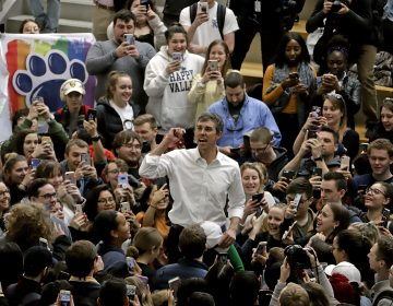Democratic presidential candidate Beto O'Rourke, center, thanks students as he leaves the The Hub Robison Center on the Penn State campus in State College, Pa., Tuesday, March 19, 2019. (Gene J. Puskar/AP Photo)