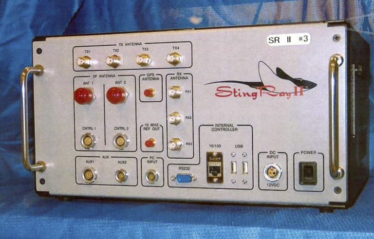 This undated file photo provided by the U.S. Patent and Trademark Office shows the StingRay II, a cellular site simulator used for surveillance purposes manufactured by Harris Corporation, of Melbourne, Fla. Search warrant documents released Tuesday, March 19, 2019, revealed that the FBI used highly secretive and controversial cellphone sweeping technology similar to that of Sting Ray to zero-in on Michael Cohen, President Donald Trump's former personal attorney, when agents raided his New York City home, hotel room and office. (U.S. Patent and Trademark Office via AP, File)
