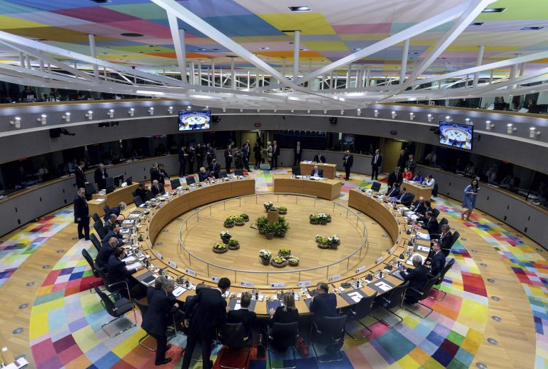 European Union leaders attend a round table meeting at an EU summit in Brussels, Thursday, March 21, 2019. British Prime Minister Theresa May is trying to persuade European Union leaders to delay Brexit by up to three months, just eight days before Britain is scheduled to leave the bloc. (Aris Oikonomou/Pool Photo via AP)