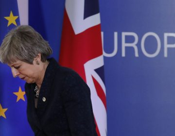 British Prime Minister Theresa May leaves after addressing a media conference at an EU summit in Brussels, Friday, March 22, 2019. Worn down by three years of indecision in London, EU leaders on Thursday were grudgingly leaning toward giving the U.K. more time to ease itself out of the bloc. (Frank Augstein/AP Photo)