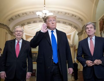 President Donald Trump accompanied by Senate Majority Leader Mitch McConnell of Ky., left, and Sen. Roy Blunt, R-Mo., right, takes a question from a member of the media as he arrives for a Senate Republican policy lunch on Capitol Hill in Washington, Tuesday, March 26, 2019. (AP Photo/Andrew Harnik)