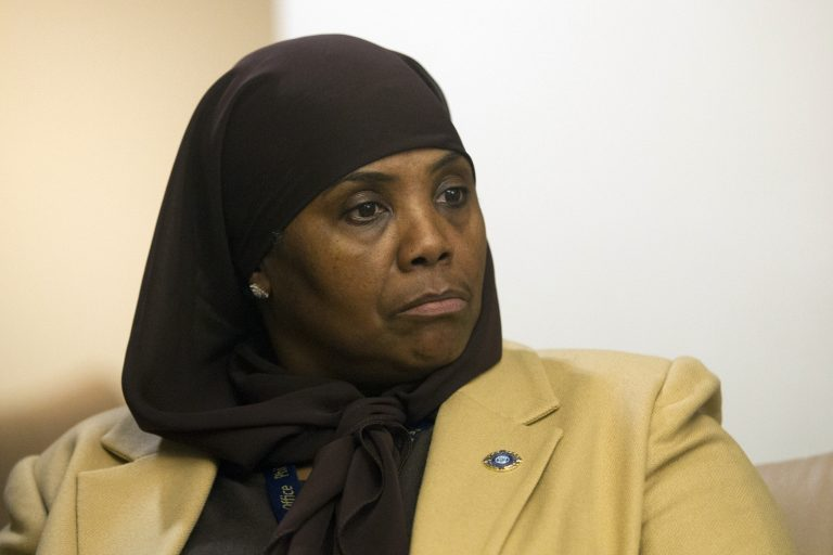 In this Jan. 9, 2018 photo, Movita Johnson-Harrell, Interim Supervisor of Victim Services, looks on after getting introduced, during a press conference at the District Attorney's Office in Philadelphia. Johnson-Harrell, the first female Muslim member of the Pennsylvania House of Representatives, said Tuesday, March 26, 2019, she was offended by a colleague's decision to open a voting session with a prayer a day earlier that