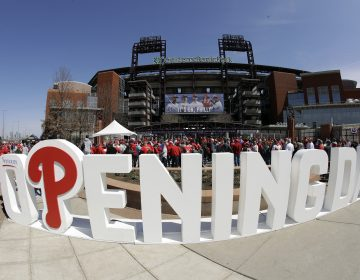 Fans gather for Phillies opening day against the Atlanta Braves at Citizen's Bank Park in Philadelphia Thursday March 28, 2019. (AP Photo/Matt Rourke)