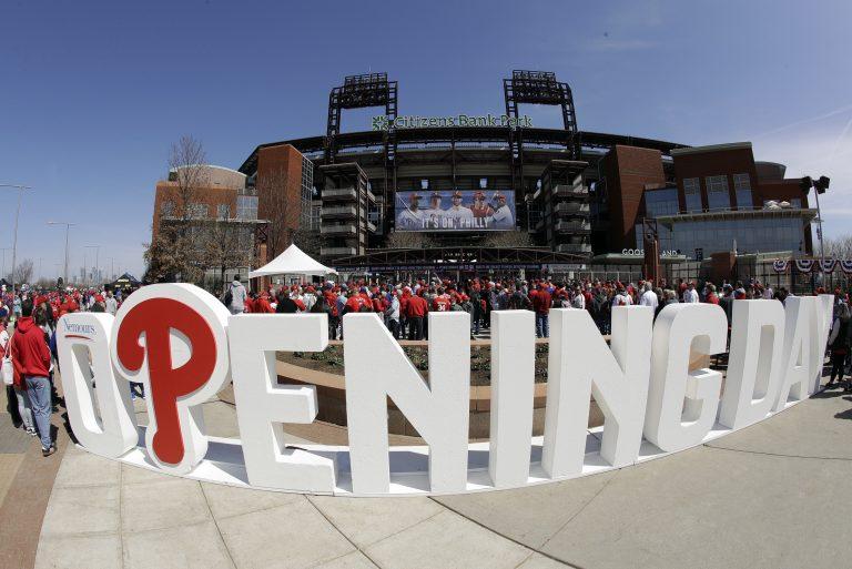 Fans gather for Phillies opening day against the Atlanta Braves at Citizen's Bank Park in Philadelphia Thursday March 28, 2019. (AP Photo/Matt Rourke)
