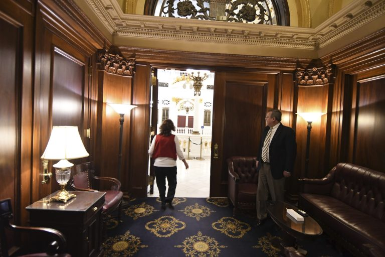 David Reddecliff, clerk of the state House of Representatives, stands in the room in Pennsylvania's Capitol once known as the