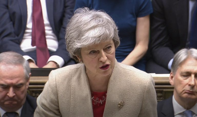 Britain's Prime Minister Theresa May speaks to lawmakers after the government's Brexit withdrawal agreement was voted down in the House of Commons, London, Friday March 29, 2019.  U.K. lawmakers on Friday rejected the government's Brexit divorce deal with the European Union for a third time. (House of Commons via AP)