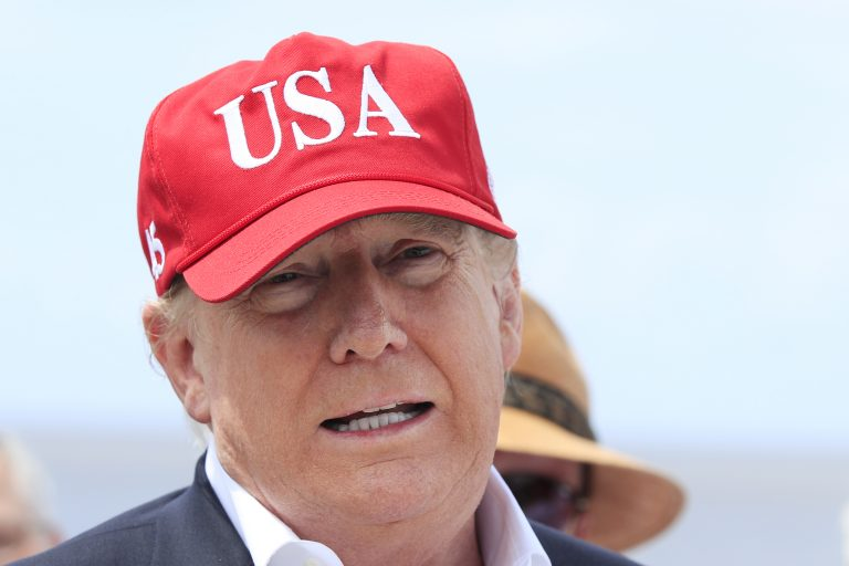 President Donald Trump speaks to reporters during a visit to Lake Okeechobee and Herbert Hoover Dike at Canal Point, Fla., Friday, March 29, 2019. Trump says he will close the nation's southern border, or large sections of it, next week if Mexico does not immediately stop illegal immigration. In a tweet, Trump ramped up his repeated threat to close the border by saying he will do it next week unless Mexico takes action. (Manuel Balce Ceneta/AP Photo)
