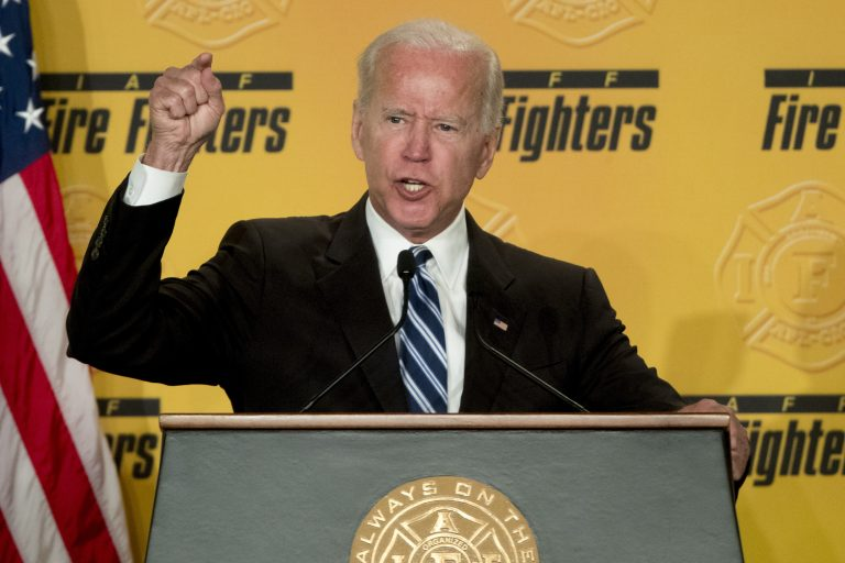 """In this March 12, 2019, file photo, former Vice President Joe Biden speaks to the International Association of Firefighters at the Hyatt Regency on Capitol Hill in Washington. Biden says he does not recall kissing a Nevada political candidate on the back of her head in 2014. The allegation was made in a New York Magazine article written by Lucy Flores, a former Nevada state representative and the 2014 Democratic nominee for Nevada lieutenant governor. Flores says Biden's behavior """"made me feel uneasy, gross, and confused."""" (Andrew Harnik/AP Photo)"""