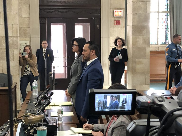During a hearing before a New Jersey legislative committee Tuesday, Al Alvarez testifies he was falsely accused of rape by Katie Brennan. He says the accusations have devastated his career and taken an emotional toll on his family. (Joe Hernandez/WHYY)