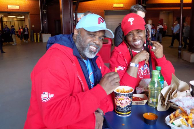 Troy James and his wife Renee James attended their first Opening Day game. Troy celebrated his 56th birthday and got to meat the team. (Ximena Conde/WHYY)