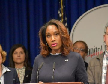 Bridgette May, a certified school nurse in the Erie City School District, speaks during a news conference at the state Capitol on March 26, 2019.