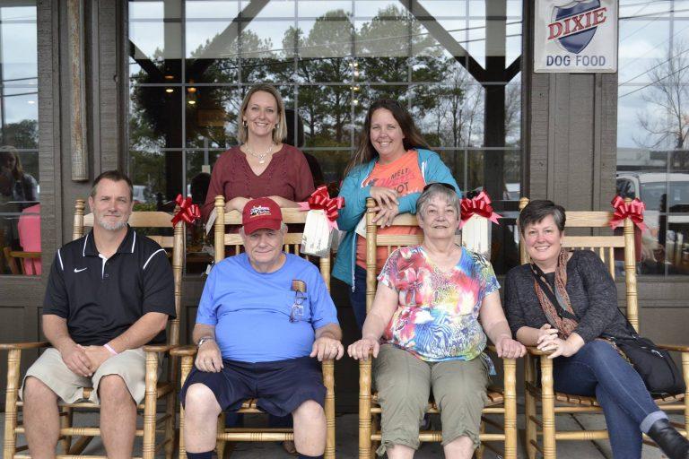 Family reunion lunch at Cracker Barrel in Macon, Georgia.  Front row (left to right): Thor Ott, Dan Ott, Kathy Ott, Tanya Ott.  Back row (left to right): Krista Ott, Danielle Springston. (Image courtesy of Tanya Ott)