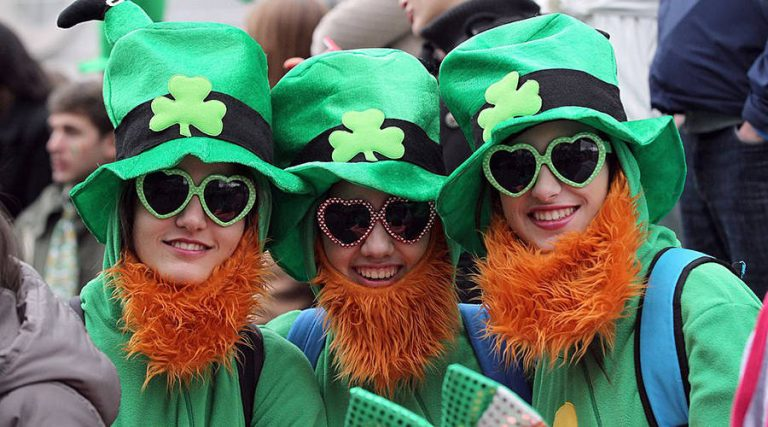 Spectators dressed as leprechauns attend St. Patrick's Day parade in Dublin on March 17, 2014. (Peter Muhly/AFP/Getty Images)