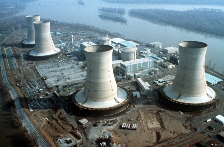 Aerial view of Three Mile Island nuclear plant near Harrisburg, Pa., scene of a nuclear accident, Thursday, March 28, 1979. The plant started leaking radioactive steam, contaminating the area. (AP Photo)
