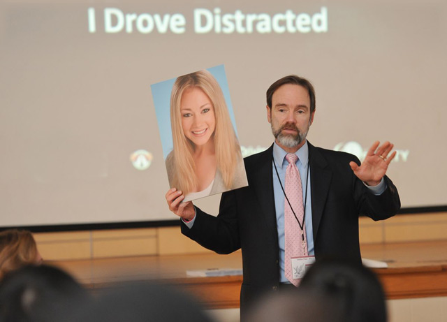 Joel Feldman, an attorney from Delaware County, has traveled the country since 2010, educating adults and students on the dangers of distracted driving in roughly hourlong presentations. His daughter was hit and killed by a driver in 2009. (Courtesy of Joel Feldman)