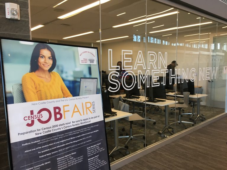 New Castle County hosted the first of 25 job fairs to recruit workers for the 2020 census on Wednesday morning at the county's Route 9 Library and Innovation Center in New Castle. (Mark Eichmann/WHYY)
