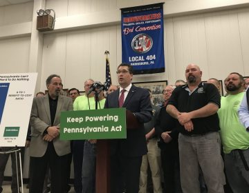 Rep. Thomas Mehaffie (R- Dauphin) unveils a bill aimed a preventing the early closure of two of Pennsylvania's five nuclear power plants. (Marie Cusick/StateImpact Pennsylvania)