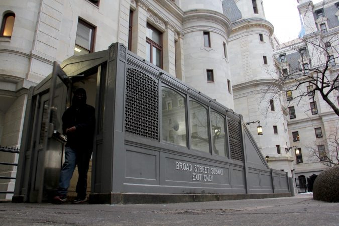 Cast iron subway entrance in city hall courtyard (Emma Lee/WHYY)