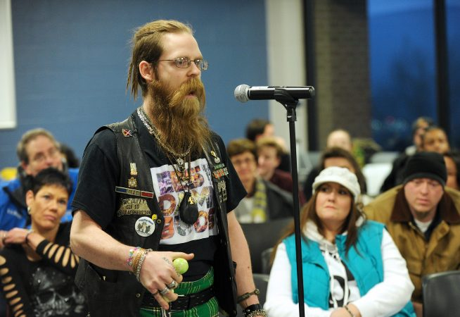 James Duffy, of Luzerne County, a veteran of the war in Afghanistan, talks about how marijuana use has eased his extreme symptoms of post-traumatic stress disorder during one of Lt. Gov. John Fetterman's listening sessions. (Matt Smith for WHYY)