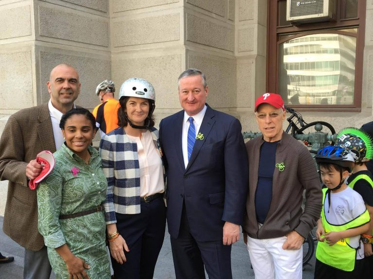 Mayor Jim Kenney and bicycle advocates in front of City Hall. (Bicycle Coalition of Greater Philadelphia/Facebook)