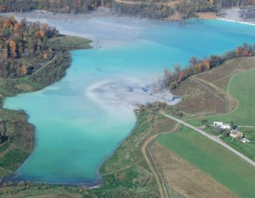 Little Blue Run, the largest coal ash pond east of the Mississippi, along the Pennsylvania-West Virginia border. (Courtesy of Robert Donnan)