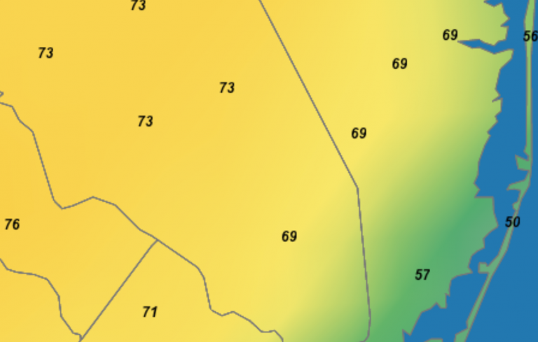 Temperatures in South Jersey at 3 p.m. on Friday, March 15. (Image: New Jersey Weather & Climate Network)