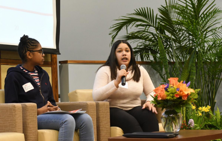 Students M'niyah DeVaughn and with Tatiana Amaya share their stories of empowerment during a discussion panel (Abdul R. Sulayman/The Philadelphia Tribune)
