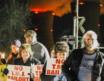 Protesters gather for a vigil outside the north gate of the Three Mile Island nuclear power plant in Londonderry Township, Dauphin County. (Tim Lambert/WITF)
