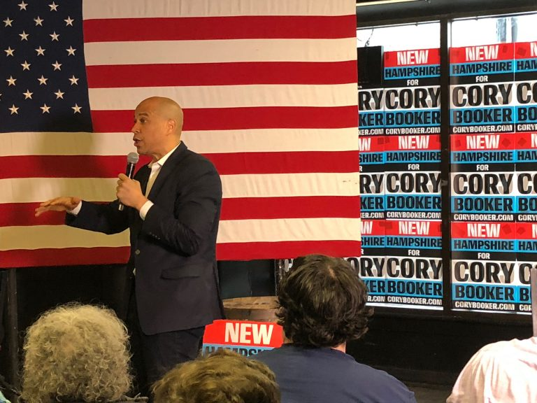 U.S. Sen. Cory Booker, D-N.J. at a campaign stop in New Hampshire on Friday (Joe Hernandez/WHYY)