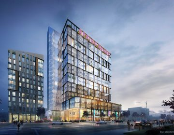 A rendering of a mixed-use development Parkway has proposed for a surface parking lot it owns at the intersection of North Broad and Spring Garden streets. (BLT Architects/Parkway Corp.)