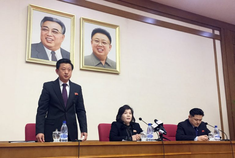 North Korean Vice Foreign Minister Choe Son Hui, (center), speaks at a gathering for diplomats in Pyongyang, North Korea, on Friday. (Eric Talmadge/AP)