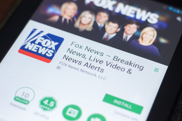 Fox News mobile app on the display of tablet PC