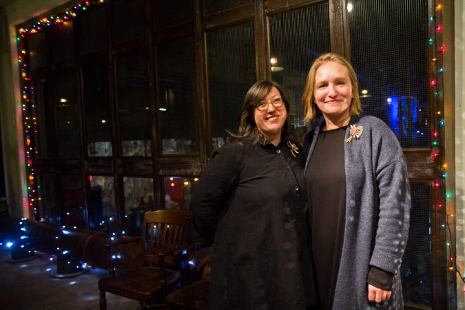 Allegra Derengowski and Rasa Stirbys Benefico are the owners of Birchtree Catering located in the Globe Dye Works building. (Kimberly Paynter/WHYY)