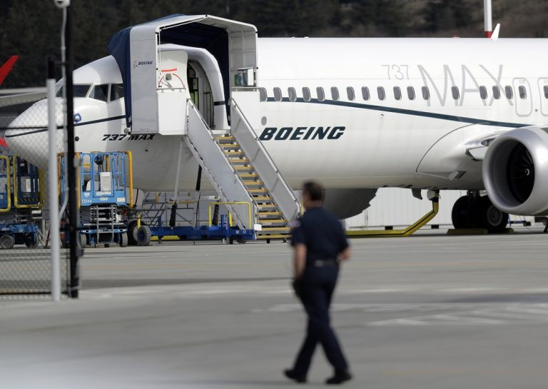 In this March 14, 2019, a Boeing 737 MAX 8 airplane parked at Boeing Field in Seattle. U.S. (AP Photo/Ted S. Warren, File)